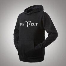 Roger Federer Pefect Perfect Logo Printing Men Hoodie Black Hooded Sweatshirt Male Printed Clothing Hoodies and Sweatshirts