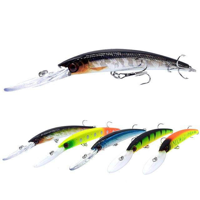 Wldslure 1pc minnow isca de pesca 150mm/16g crankbait artificial duro isca peche bass pike wobbler língua longa minnow