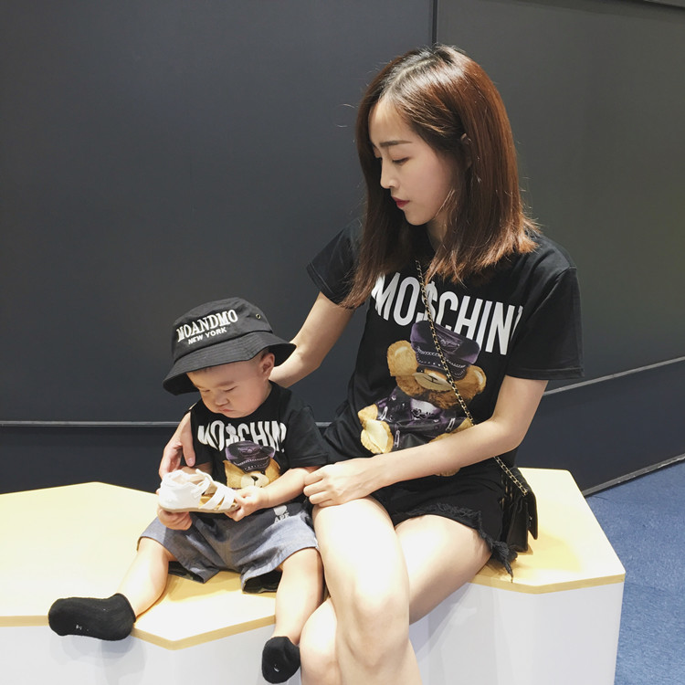 Family matching clothes mother and daughter clothes cartoon t shirts family look clothing family matching outfits couple shirt