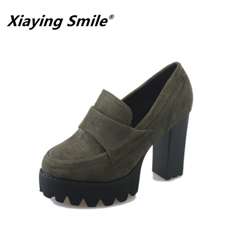 Xiaying Smile Spring Autumn Winter Style Woman Shoes Casual Fashion Cool Increased Internal Shoes Slip-on Rubber Women Shoes xiaying smile woman pumps british shoes women thin heels style spring autumn fashion office lady slip on shallow women shoes