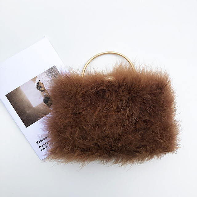 b3c5e88c10cd Designer Real Fur Feather Clutch Famous Brand Women Clutch Knuckle Diamond  Pearl Dinner Evening Bag Chain Purse Handbags