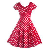 Women Vintage Style Polka Dot 50 S 60 S Swing Pinup Retro Party Housewife Short Sleeve