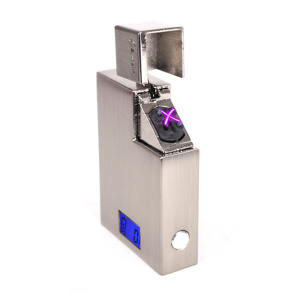 Latest Rechargeable Windproof Cigarette Usb Arc Lighter Plasma Flameless Electric Power Display Plasma Lighters Gadgets for Men