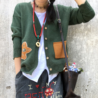cartoon pocket knitting Cardigan sweater autumn winter 2108 mori girl