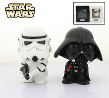 "Free Shipping Cute 4"" Star Wars White Soldier + Darth Vader Bobble Head Shaking Head Toy Model Car Decoration Boxed PVC Figure(China)"