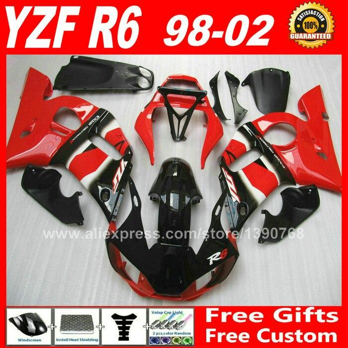 OEM rouge carénages Fit pour YAMAHA R6 YZFR6 1998 1999 2000 2001 2002 carrosserie pièces yzf-r6 98 99 00 01 02 carénage kits U7T0