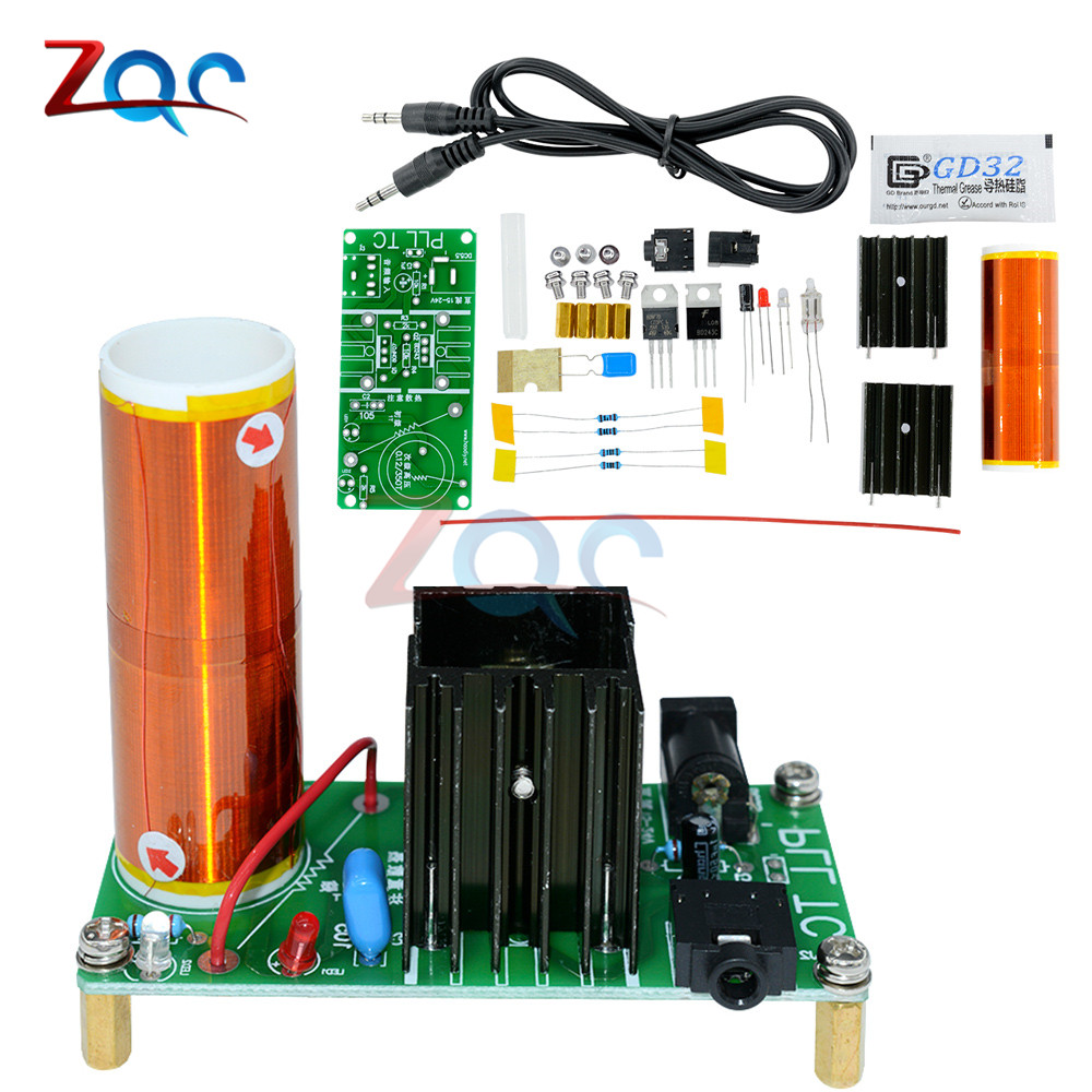 где купить 1 Set Mini Tesla Coil Kit 15W Mini Music Tesla Coil Plasma Speaker Tesla Wireless Transmission DC 15-24V DIY Kits дешево