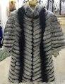 AAA2016 Rex Rabbit Fur Coat Thick Warm Striped half sleeve women winter chinchilla fur coat