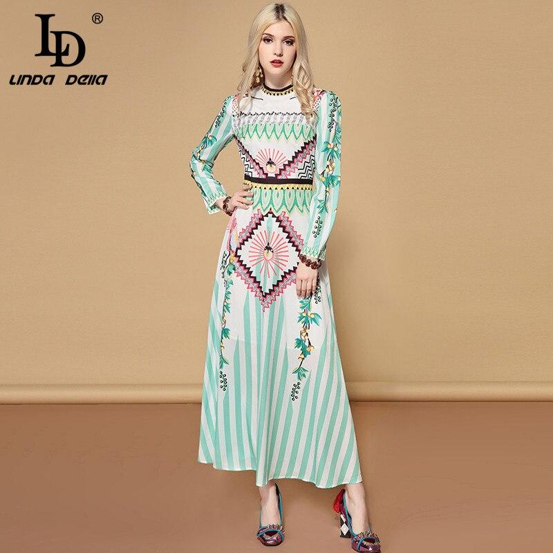 LD LINDA DELLA 2019 wiosna na co dzień wakacje z długim rękawem sukienka w dużym rozmiarze damska urocze szyfonu drukowane wakacje Boho długa sukienka w Suknie od Odzież damska na  Grupa 3