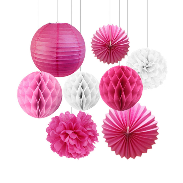 8pcsset Paper Crafts White Pink Fuchsia Paper Decorations For