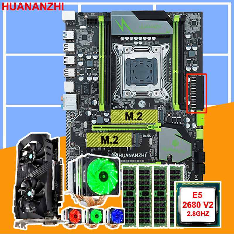 Brand new HUANANZHI X79 Pro motherboard with DUAL M.2 slot CPU <font><b>Intel</b></font> <font><b>Xeon</b></font> <font><b>E5</b></font> <font><b>2680</b></font> <font><b>V2</b></font> with cooler RAM 16G video card GTX1050Ti 4G image
