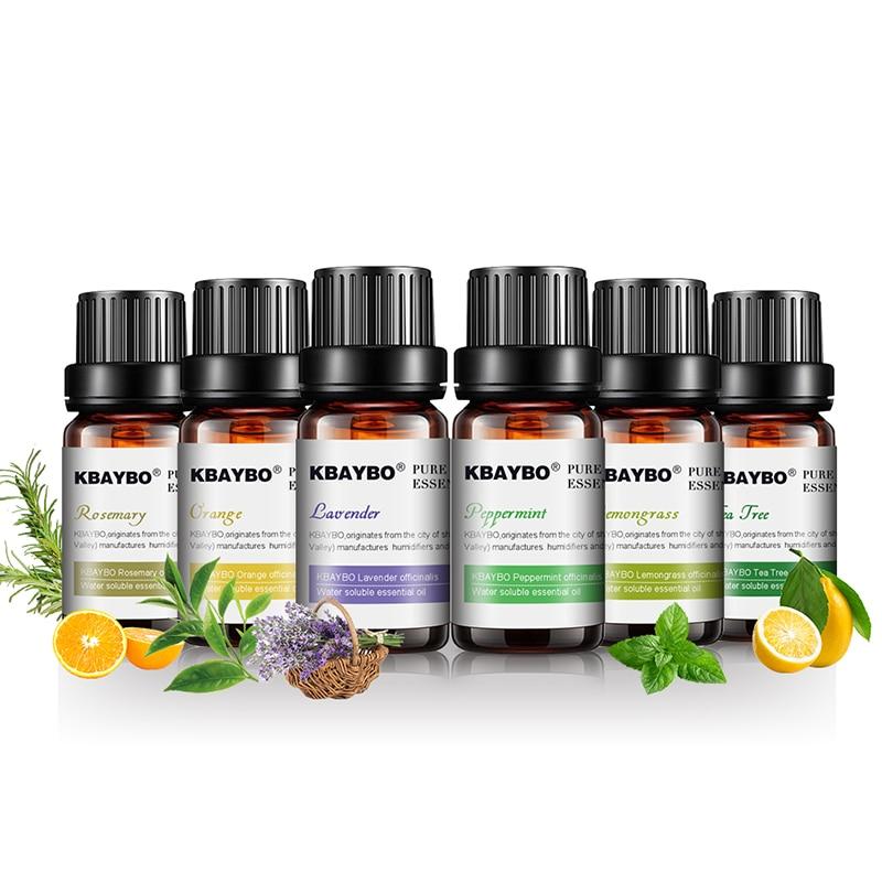 Óleo essencial para difusor aromaterapia umidificador de óleo 6 tipos fragrância de lavanda chá árvore alecrim lemongrass laranja