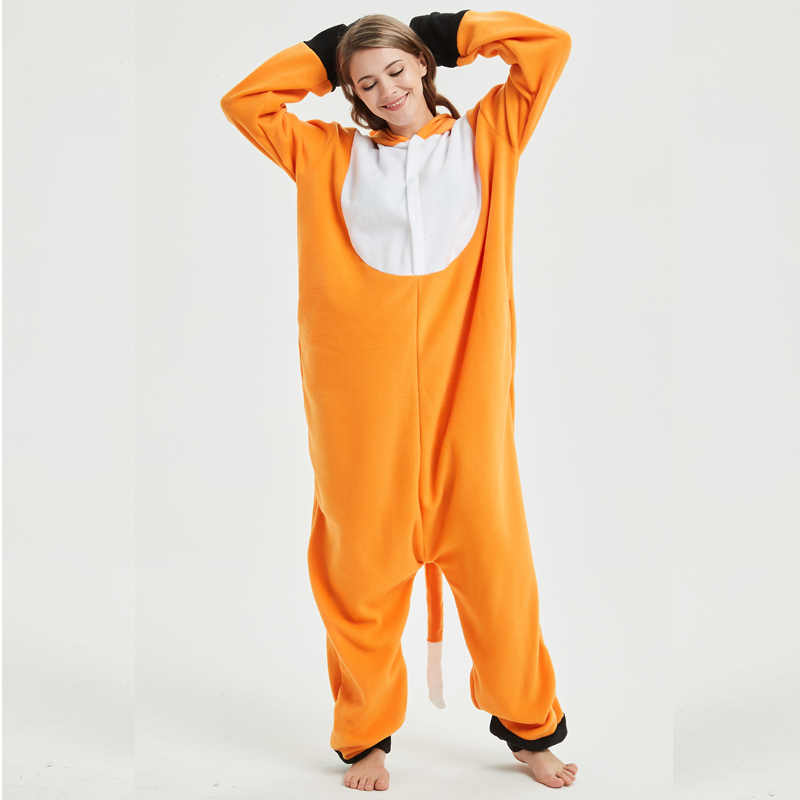 aec7ca98ed ... New Fox Kigurumi Pajamas Onesie For Adults Animal Cartoon Orange  One-piece Sleepwear Women Halloween ...