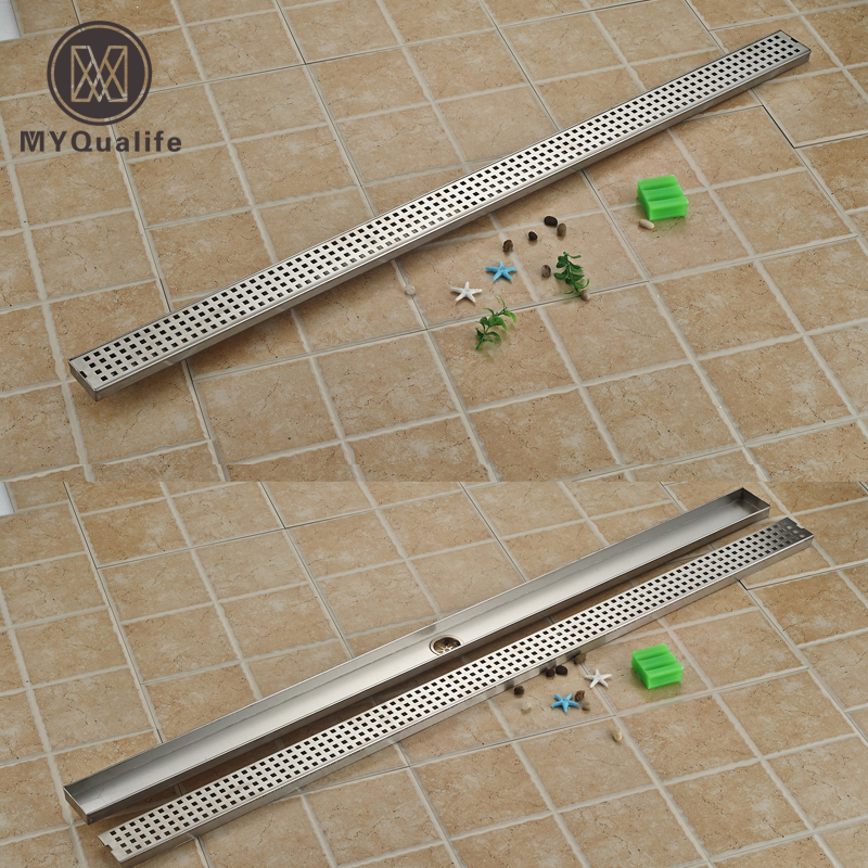 Матовый никель Линейный душ слив Вертикальная ванная комната большой поток слив вниз выход длинный пол слив 120 см