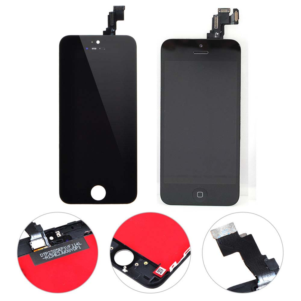 LCD Display For iPhone 5C Replacement Touch Screen Digitizer Assembly+Home Button+Front Camera+Ears peaker Black Free Shipping