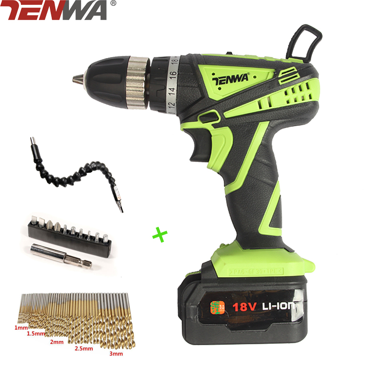 TENWA Electric Drill Tool Sets 18V Rechargeable Lithium Battery Cordless hand Electric Drill Home Electric Screwdriver With Bits makita 18v lithium battery series tool cordless impact screwdriver 3000ipm 2300rpm