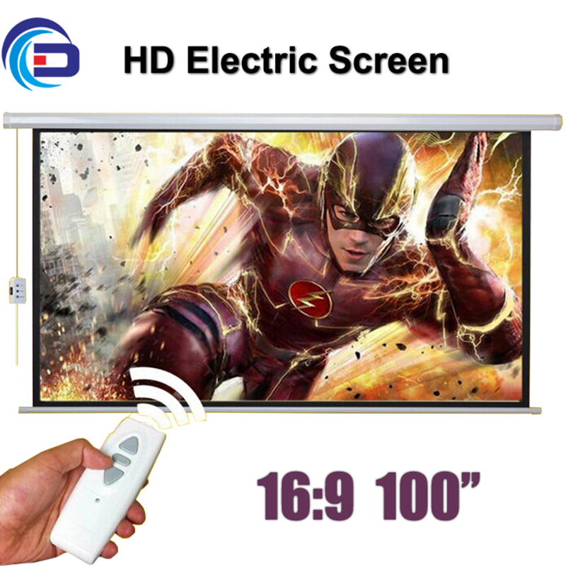 Wholesale 100 16:9 HD Electric Projection Screen with Remote Controller Motorized Projector Pantalla proyector Screen 4 3 electric projector screen pantalla proyeccion for led lcd hd movie motorized projection screen 72 84 100 inches available