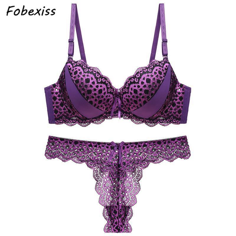 e0f96f02 Las mujeres ropa interior de encaje Sexy leopardo Tanga Sexy fina bragas  Bra hueco ropa interior ...