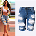 Fashion Knee Length Shorts Hole jeans woman Shorts ripped jeans  women vaqueros mujer boyfriend Short jean denim pants pantalon