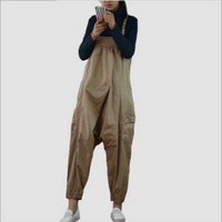 New lady's pants loose fashion big crotch slim shoulder pants girl overalls