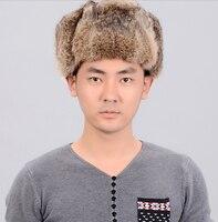 Russian Winter Hats For Men Waterproof Warm Real Rabbit Fur Hat Men's Bomber Hats Genuine Fur Trapper Hats