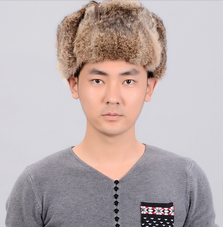 Russian Winter Hats For Men Waterproof Warm Real Rabbit Fur Hat Men s  Bomber Hats Genuine Fur Trapper Hats-in Bomber Hats from Apparel  Accessories on ... 10d2daae75a