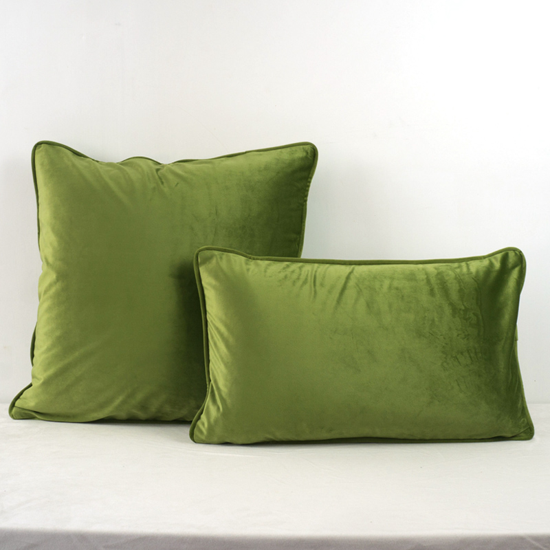 Grass Green Piping Design Velvet Cushion Cover Pillow Case Lovely Soft Pillow Cover No Balling-up Without Stuffing