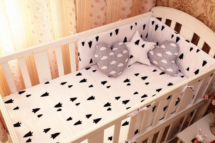 Promotion! 6PCS tree crib bedding set cot set baby bumpers lovely print (bumpers+sheet+pillow cover) allover sanding graffiti print sheet set