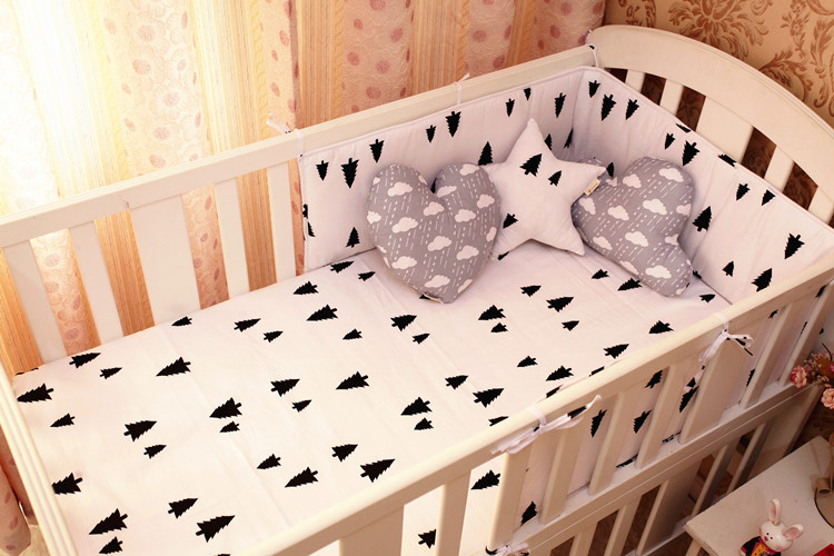 Promotion! 6PCS tree crib bedding set cot set baby bumpers lovely print (bumpers+sheet+p ...