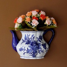 Teapot Shape Vase Metope Vase Ceramic Wall Hanging Flower Receptacle Jingdezhen Blue and White Porcelain Flower Vases