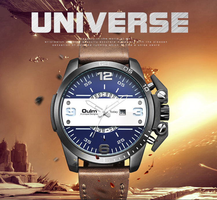Luxury Men's Oulm Watch Sport relojes Japan Double Movement Square Dial Compass Function Military Cool Stylish Wristwatches men quartz watches new fashion sport oulm japan double movement square dial compass function military cool stylish watch relojio