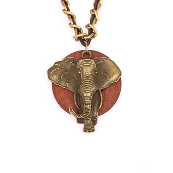 Antique Vintage Long Rope Chain Necklace Wooden Alloy Elephant Pendants Neckless Cord Men Jewelry Accessories Free Shipping