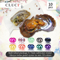 CLUCI AAA 10pcs Twins AKOYA Pearls Oysters Individual Package 6 7mm Saltwater Round Akoya Twins Pearl