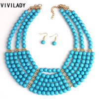 Fashion African Bridal Beads Bib Layer Chain Jewelry Set Women Costume Choker Elegant Necklace Earrings Party