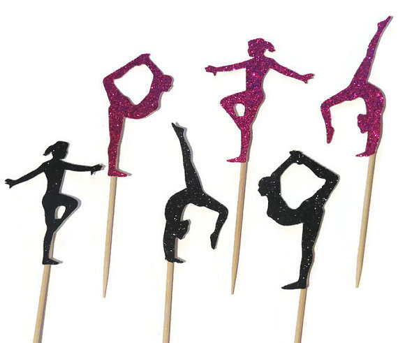 Gymnastics Silhouette Cupcake Toppers Sports Event Party Picks Baby Shower Wedding Birthday Toothpicks Decor In Cake Decorating Supplies From Home Garden