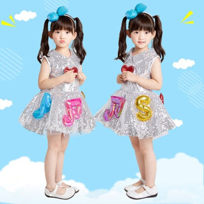 musical note costumes for children lovely dance costumes for kids kindergarten performance clothing paillette dance dress