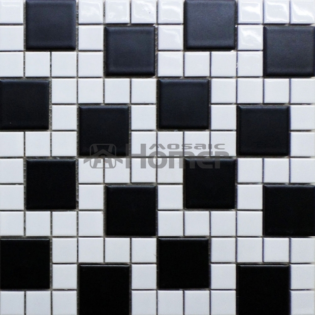 Shipping Free Simple Design Black And White Ceramic Mosaic Tiles Kitchen Floor