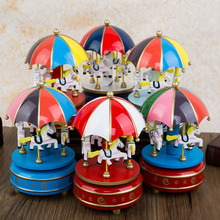 Brand new Carousel Christmas music box birthday wedding gift bookcase decoration free shipping