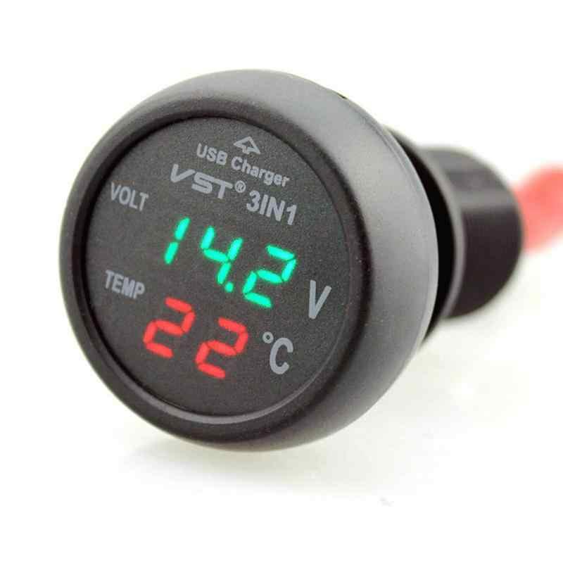 12-24V Car Cigarette Lighter Socket with USB Port / Voltmeter / Thermometer for Car Truck