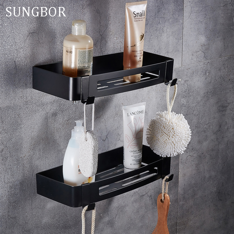 Stainless steel 304 Black bathroom corner shelf shower room rack for body wash bottle toilet corner table shelf holder HL 3669H