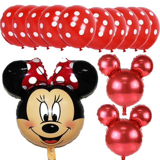 13pcs/lot Mickey Minnie Mouse Foil Balloons For Wedding Decoration Birthday Party Decorations Kids Helium Gobos baloes LUHONGPAR