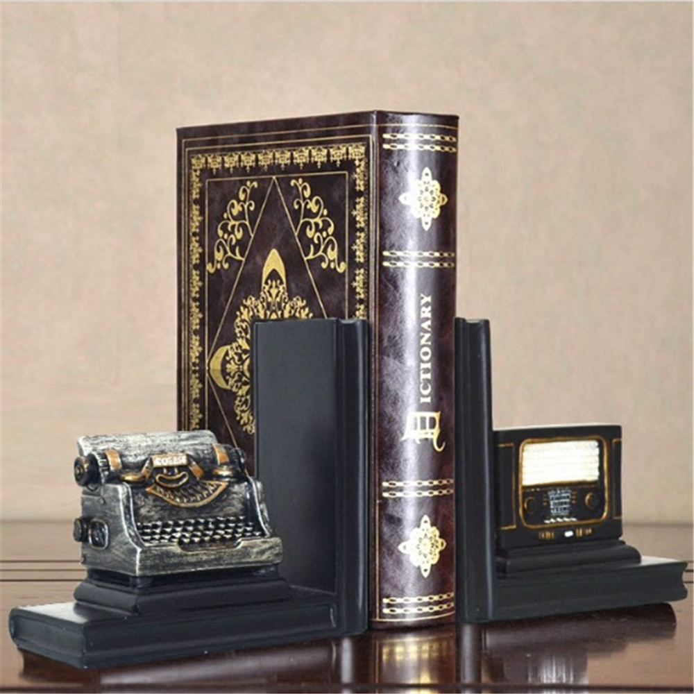 a Pair Creative Synthetic Resin Bookend Shelf Retro Telegraph Bookend Holder Office Supplies Home Decoration Book Stand 100g vitamin b2 riboflavin food grade usa imported