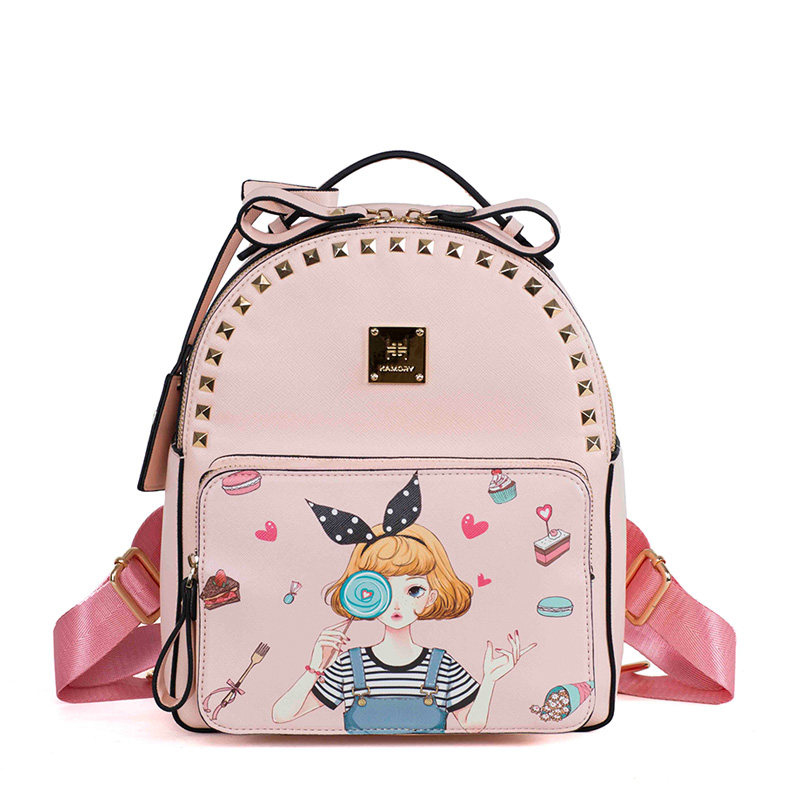 Retro Arty Backpack Women Sweet Style Fashion Pink Rivet Bag Lovely Cartoon Printing Casual Small Packsack Ladies PU Schoolbag