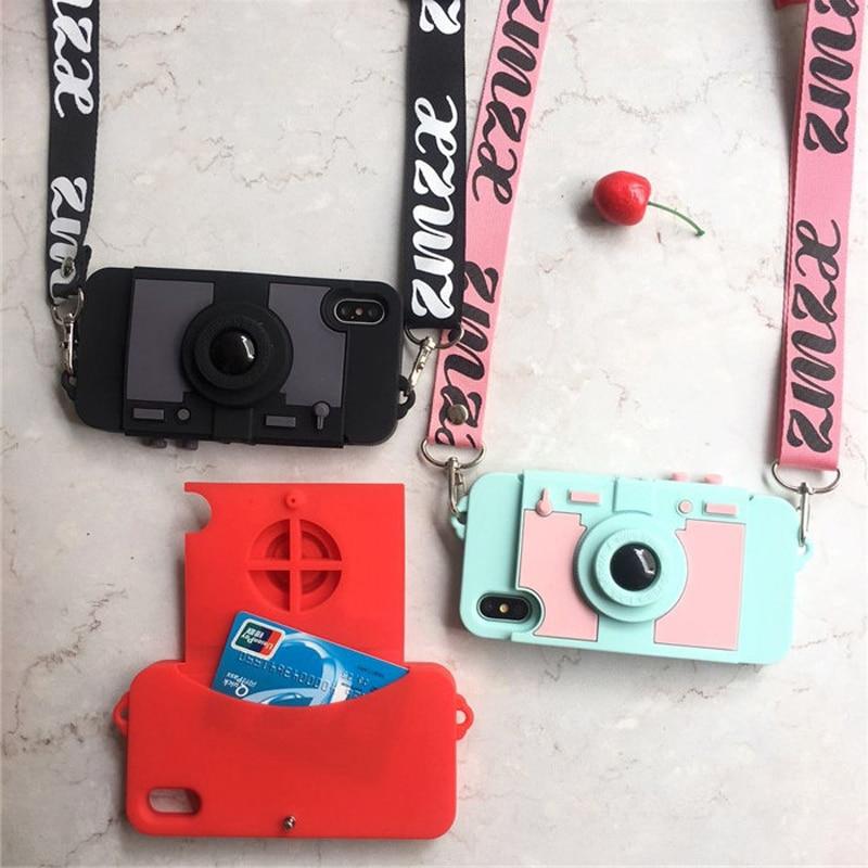 Neueste Kamera Karte Brieftasche Telefon Fall Für iPhone XS MAX XR X 7 8 plus 6 6 s plus weichen silikon mit schulter Langen Riemen zurück abdeckung