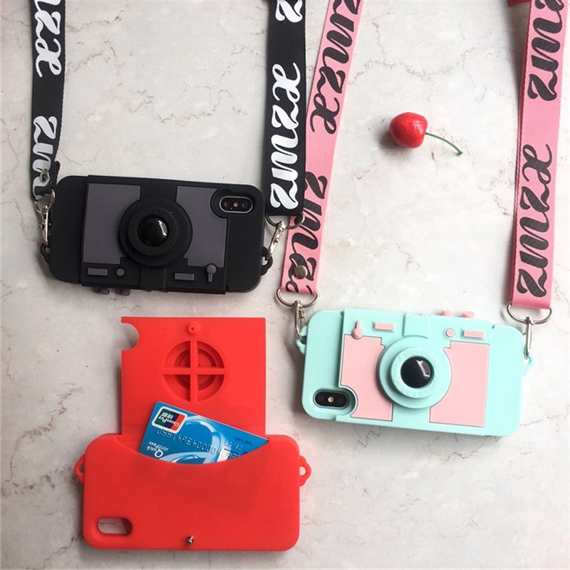 Newest Camera Card Wallet Phone Case For iPhone XS MAX XR X 7 8 plus 6 6s plus soft silicone with shoulder Long Strap back cover