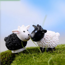 2pcs/set Artificial White&Black Sheet Dolls DIY Goat toys Garden Plant Decoration,Home Decor Gift Goats DuoROU Garden Ornament