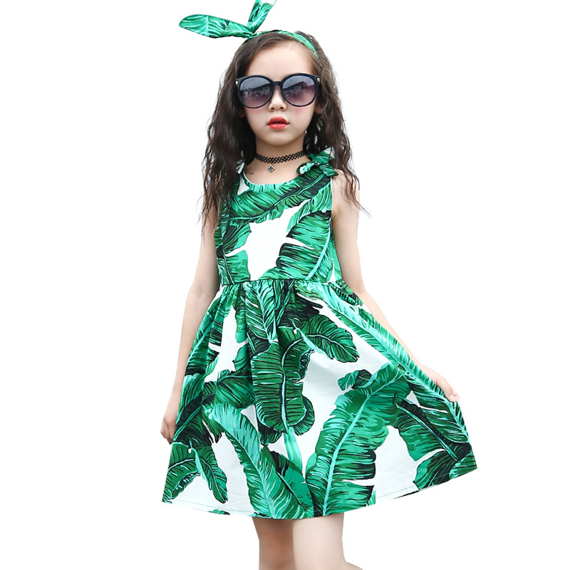 Teen Girl Dress Green Princess Girl Cool Vest Dress Children Clothes 4 <font><b>5</b></font> 6 7 8 9 10 11 12Y image