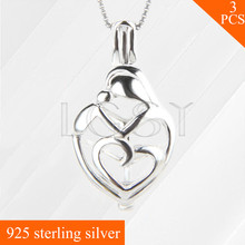 Mother and kid love 925 sterling silver Cage heart Locket necklace pendant, best Mother's Day gift 3pcs