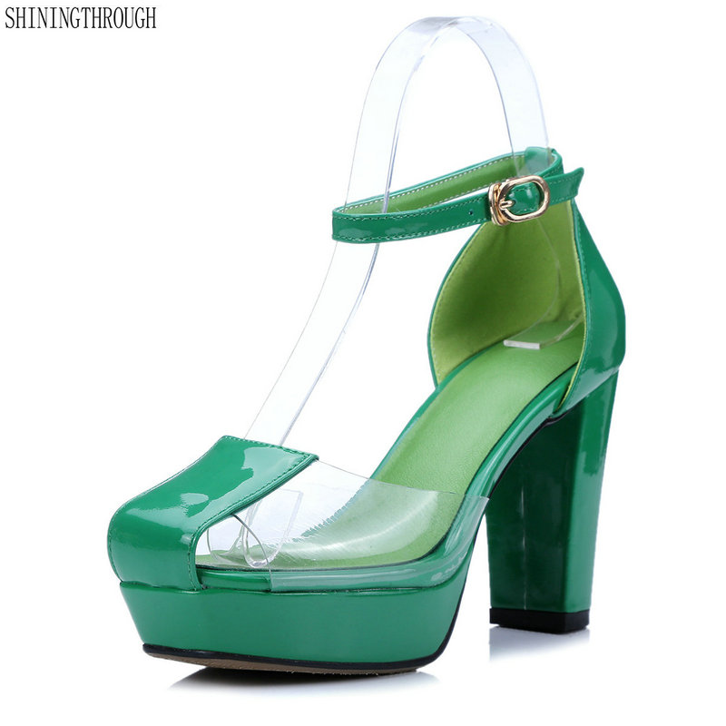 Women pumps Summer Genuine Leather high Heels square Toe Women's shoes transparent Woman Shoes Sexy Back Strappy green white
