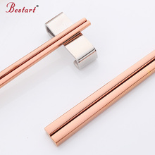5pairs Korean Rose Gold Metal Square Chopsticks Stainless Steel Household Cheap Chop Sticks Chinese Tableware Non-slip Chopstick